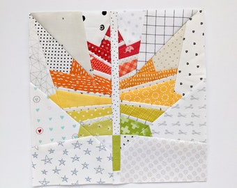 Maple Leaf Foundation Paper Piecing Quilt Block Pattern    Fall FPP Digital Pattern