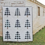 Farmhouse Christmas PDF Quilt Pattern || Plaid Christmas Trees || Easy Modern Quilt