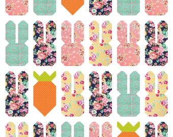 Easter Parade PDF Quilt Pattern in two sizes: Mini Quilt and Throw Quilt    Easy Spring Quilt