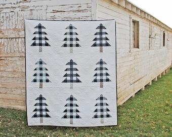 Farmhouse Christmas PDF Quilt Pattern    Plaid Christmas Trees    Easy Modern Quilt