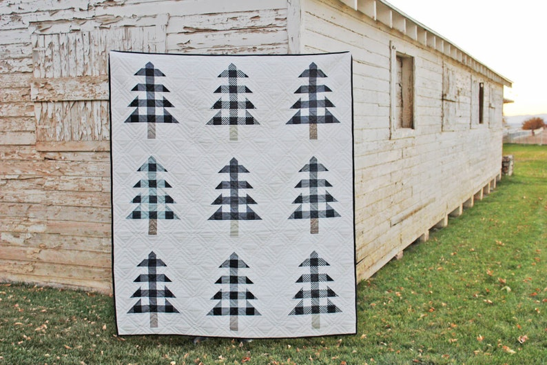 Farmhouse Christmas PDF Quilt Pattern  Plaid Christmas Trees image 0