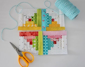 Tiny Log Cabin FPP Quilt Block PDF Pattern