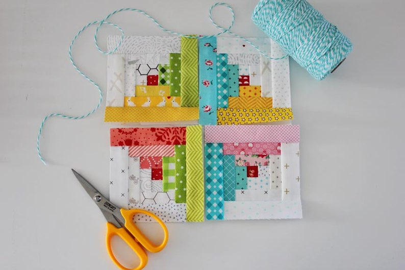 Tiny Log Cabin FPP Quilt Block PDF Pattern  Five Size image 0