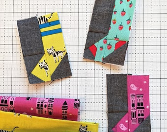 Tiny Sock Foundation Paper Piecing Quilt Block Pattern    Easy Digital PDF Pattern