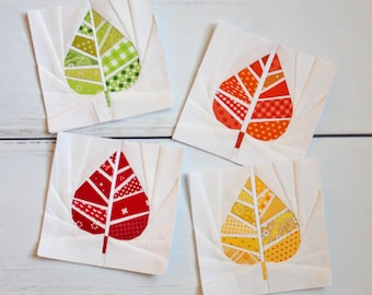 Geometric Leaf Foundation Paper Piecing FPP Quilt Block Pattern (PDF Download) || Modern Fall Quilting Pattern ||