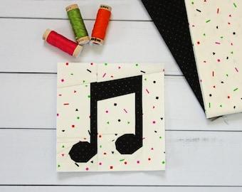 Music Notes Foundation Paper Pieced PDF Digital Quilt Block Pattern    Modern Quilt Pattern
