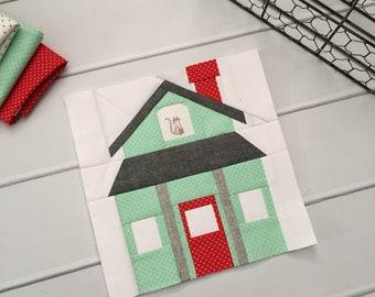 Farmhouse Foundation Paper Piecing FPP Quilt Block Pattern    Modern house quilt block    Santa's Workshop    Haunted Halloween House
