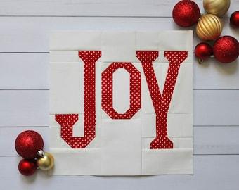JOY Foundation Paper Pieced PDF Quilt Block Pattern    Christmas Quilt Pattern