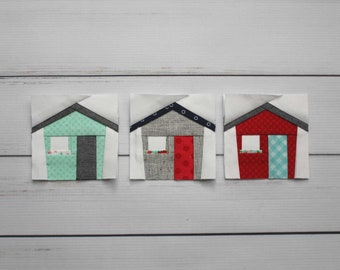 Tiny House Foundation Paper Piecing FPP Pattern    Easy and Modern Quilt Block Pattern in Two Sizes
