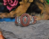 Ed Coyote Needlepoint Cuff Coral Gemstone Clusters Open Sterling Wire Unique Cylinder Curls Vintage Zuni Artisan Signed