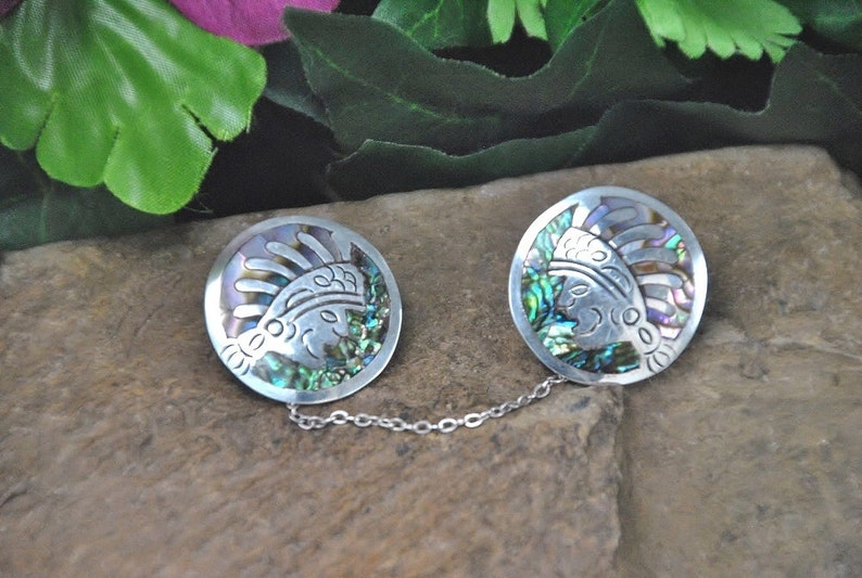 Abalone Inlay Sweater Guards  Rare Aztec Warrior Design in Sterling ~ Purple and Green Shell Mosaic  Vintage 1950s ~ Mexico JH Eagle 3