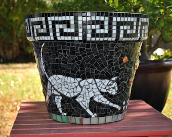 Stained Glass & Tile Mosaic Garden Container - White Cats-Greek Key-Halloween