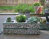 Custom Designed Mosaic Cinder Block Herb Garden Planter Olive Branch Pattern - White, Green, Brown