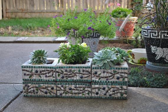Custom Designed Mosaic Cinder Block Herb Garden Planter