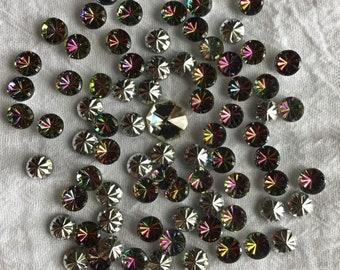 19abaa23c Vintage Aurora Borealis Colorful Foil Backed Cabochons. Lot of 80