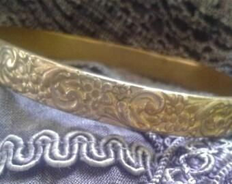 Pretty Solid Brass Bangle Bracelet Signed 'Jeray'