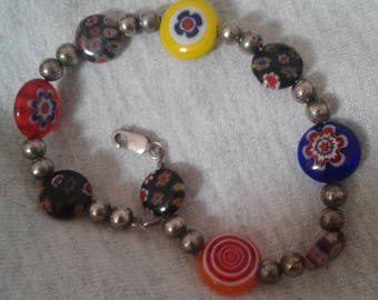 Sterling Silver and Murano Glass Bead Bracelet