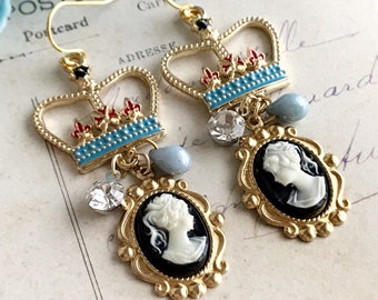 cameo earrings crown earrings whimsical earrings vintage inspired french style blue enamel black white gold dangle drop GOOD to be QUEEN