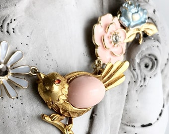 vintage assemblage necklace bird enamel flower blue rose charm necklace summer fantasy whimsical fairy tale statement gold PINK CANARY