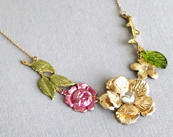 rose necklace flower necklace gold floral necklace hand painted jewelry fairy tale necklace neo victorian vintage style harajuku MAY DAY