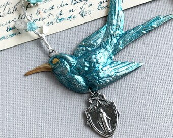 swallow bird necklace virgin mary medal religious necklace dove flower branch necklace blue bird hand painted vintage catholic holy SERENITY