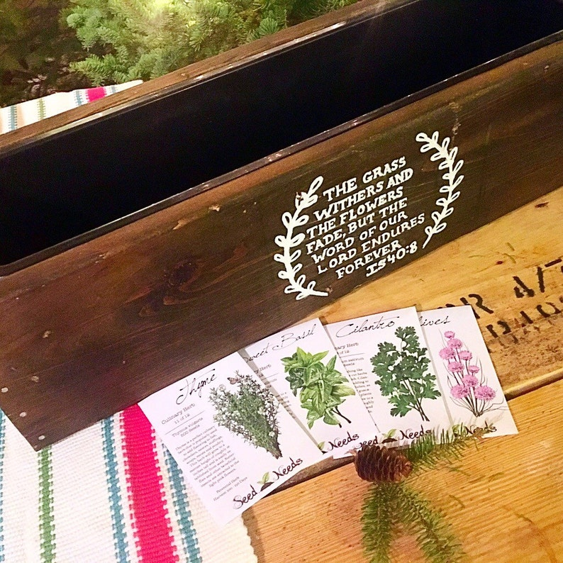 Wood herb box kit with asortmeng of herb seed packets and box liner  and custom hand painted monograming