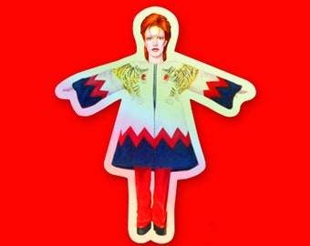 David Bowie Tribute Holographic Die Cut 3 Inch Sticker by SBMathieu