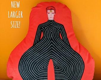 David Bowie Tribute Velvet Tokyo Pop Bodysuit 15 Inch Pillow by SBMathieu