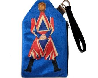 David Bowie Tribute Fan Art Velvet Zippered Clutch Wristlet Bag by SBMathieu