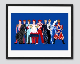 David Bowie Characters Tribute 11 x 17 Inch Poster by SBMathieu