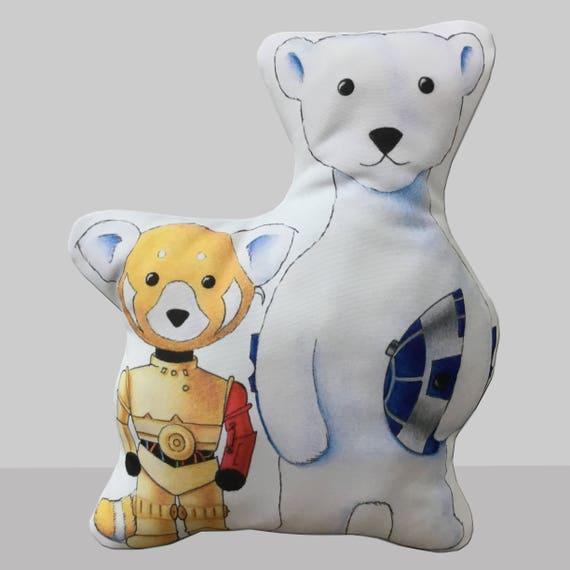 Walter le Panda roux et Jack l'ours polaire comme un Stormtrooper et Darth Vader hommage à Star Wars oreiller par SBMathieu
