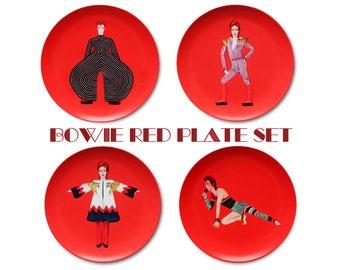 David Bowie Tribute Red Set 10 Inch BPA-Free Melamine Plates by SBMathieu