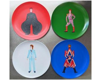 David Bowie Tribute 10 Inch BPA-Free Melamine Plates by SBMathieu