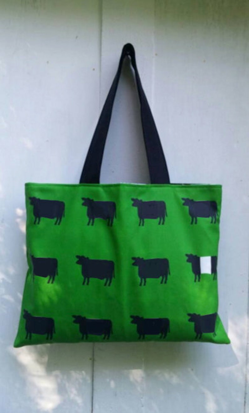 Cow Breeds Green Tote Bag by SBMathieu