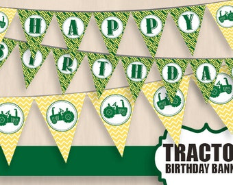TRACTOR HAPPY BIRTHDAY Banner In Green And Yellow Instant Printable Download