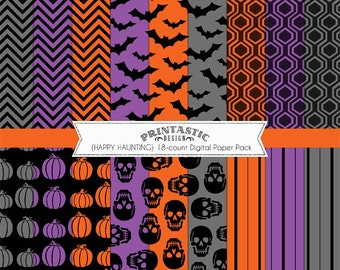 HAPPY HAUNTING Halloween Paper Pack- Instant Printable Download with pdf and jpg