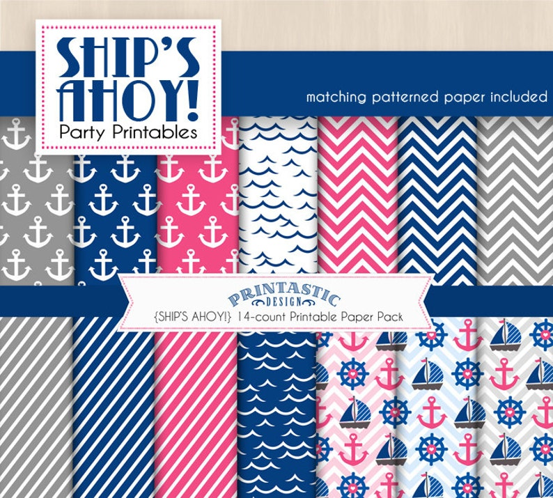 Instant Download SHIP/'S AHOY Nautical Baby Shower Printable Package in Pink and Navy Blue