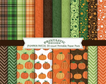 PUMPKIN PATCH Paper Pack in Orange- Instant Printable Download wih JPGs and PDFs