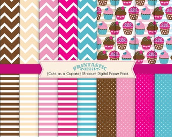 CUTE AS A CUPCAKE Scrapbooking Paper Pack in Pink and Teal- Instant Printable Download