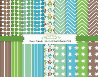 OWL Paper Pack in Seafoam Green and Teal- Instant Printable Download