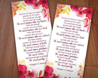 JOY OF WOMANHOOD bookmark from Margaret D Nadauld- Instant Printable Download