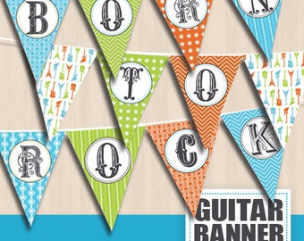 BORN TO ROCK Party Banner in Orange, Turquoise Blue and Lime Green- Instant Printable Download