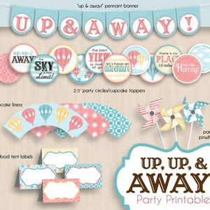 Instant Download HOT AIR BALLOON Graduation Party Printable Package in Coral
