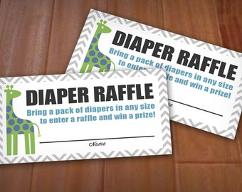 ZOO DIAPER RAFFLE Printable Ticket in blue and green - Instant pdf Download