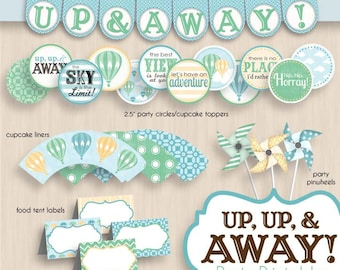 HOT AIR BALLOON Birthday Party Printable Package in Seafoam Green- Instant Download