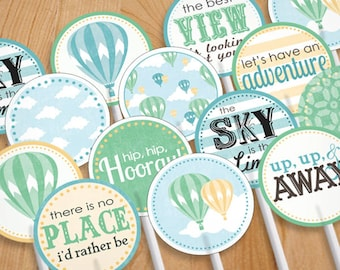 HOT AIR BALLOON Cupcake Toppers & Party Circles in Seafoam Green and Teal- Instant Printable Download