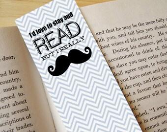 MUSTACHE Printable Bookmark- Instant Download