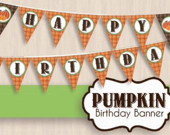 PUMPKIN BIRTHDAY Party Banner- Instant Printable Download