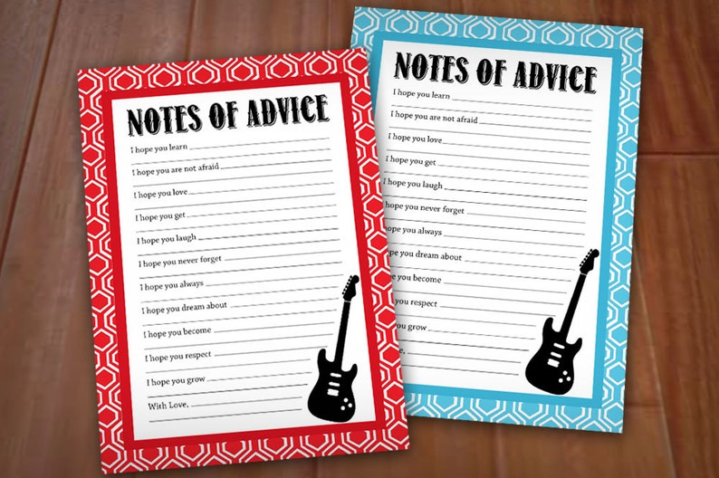 GUITAR ADVICE Cards for Baby Shower in Red and Turquoise Aqua Blue- Instant  Printable Download