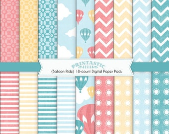 HOT AIR BALLOON Paper Pack in Coral and Teal- Instant Printable Download